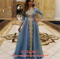 2020 марокканской кафтан Золотые кружевные аппликации вечерние платья три четверти рукава саудовские арабские выпускные платья мусульманские шифоновые формальные платья