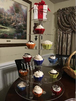 Grande Platter 6-Tier Acrílico vidro redondo Bolo Stand-Cupcake Stand Sobremesa stand-tea party que serve para festa de casamento