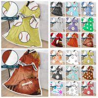50 * 70inch البيسبول كسلان بطانيات الصوف رداء مريح الأكمام الرياضية الكرة لبس عباءة 3D الطباعة الرقمية بطانية الشتاء LJJA3441-1
