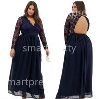 2020 Frauen Chiffon Spitzenkleid Backless Ballkleid lange Hülse tiefere V-Ausschnitt Royal Blue Maxi Kleider Sommerfest-Hochzeit Abendessen volles Kleid LY319