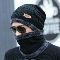 2pcs esquiar inverno chapéu tampão e lenço frio quente de couro para mulheres homens Malha chapéu Bonnet Quente Cap Skullies Gorros