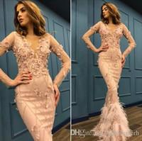 Сексуальная русалка розовый с длинным рукавом вечерние платья длинные мусульманские Южной Африки 2019 Sexy V-шеи Elie Saab Party Promess платья