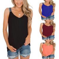 2019 Sommer neue Art und Weise Sling Sleeveless T Shirt Frauen Bester Verkauf V-Ansatz Normal Behälter Knicken Tops Weste Größe S bis 2XL