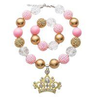 braccialetto rosa parte superiore di colore del capretto della collana ciondolo set di Halloween di stile di Bubblegum Bead collana robusta bambini insieme dei monili Per delle ragazze del bambino