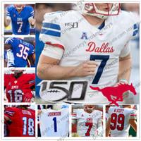Personalizzato SMU Mustangs 2020 Calcio Bianco Blu Rosso 7 Shane Buechele 5 Xavier Jones 3 James Proche 150 ° Uomini Gioventù Kid Jersey 4XL