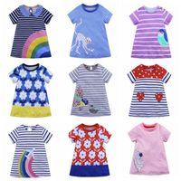 Девочки Дизайнерская одежда для новорожденных мультфильм животных полосатые дот платья лета детей пляж юбка A-Line детей платье бутик TLZYQ625
