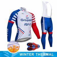 2020 Yeni Gruplama FDJ Bisiklet Takımı Jersey Önlükler Pantolon Set Ropa Ciclismo Erkek Kış Termal Polar Pro Bisiklet Ceket Maillot Giyim