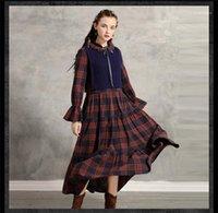 Sonbahar Moda Stil Bayan Giyim Bow Gündelik Giyim Bayan Kış Tasarımcı Retro Elbiseler 2PCS yazdır kareli