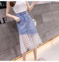 2020 Neue Design der Frauen hohe Taille Jeans gepatchten Gaze gepunktetes Pint netter Rock plus Größe asymmetrische unregelmäßige midi Rock lang SMLXL2XL
