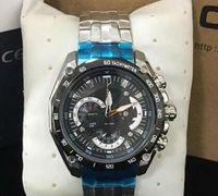 clássico da moda transporte livre relógio EFR-550 relógio de designer Steel Band Touro para Man Quartz Com Original Box Set