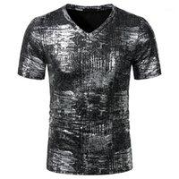 Hommes estampillage chaud imprimé Designer T-shirts manches courtes col V T-shirts occasionnels de couleur contrastée Mode T-shirts Vêtements pour hommes
