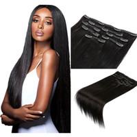 Clip recto sedoso en extensión de cabello Black Brown Rubio Color Humanhair Extensiones Clips en Peinhefts 100 g