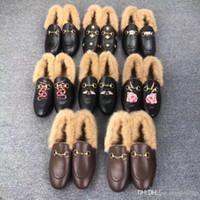سوليد البغال برنستون شقة الأحذية الكاجوال أصيل جلد البقر مصمم معدن مشبك الأحذية الصوفية الدافئة للرجال والجلود والأحذية النساء كسول