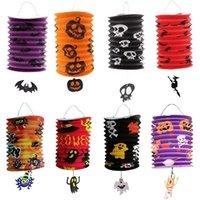 Halloween pliant Organ Lampion citrouille papier portable pour enfants Bat Skeleton Hanging lanterne Lampe Halloween Décor outil RR