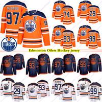 Edmonton Oilers Jerseys 97 Connor McDavid 99 Wayne Gretzky 74 Ethan Bear 29 Leon Draisaitl 93 Nugent Hopkins 18 James Neal Hóquei Jersey