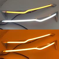 1 par bil strålkastare LED ögonbryn för Honda CRV 2012 2013 2014 dagtid Running Light Drl med gul sväng signal ljus