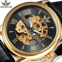 masculino SEWOR Gold Automatic Mechanical Mens Skeleton Watc...