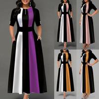 Frauen-Streifen-Vintage-Kleid-elegante Büro-Damen lange Maxi-Kleid-Partei Sommer-Kurzschluss-Hülsen-Kleid Mode Kleidung Lässige