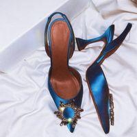 Formale cristallo Satin Sandali Coppa elegante tacco punta aguzza Estate Tacchi alti su misura più le scarpe da sposa taglia Donne