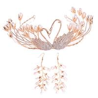 خمر الذهب بجعة اللؤلؤ اليدوية النساء تاج و التيجان حلق مجموعة الزفاف الإكليل خوذة الزفاف الشعر مجوهرات اكسسوارات jl