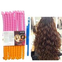 18 pcs 65cm 2,5 Onduladores mágicos de ondas de água formadores alavancar Ferramenta de cabeleireiro espiral com 1 Ganchos para Cabelo Comprido Extra 25 polegadas