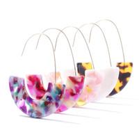 Moda Leopar Marka Tasarım Akrilik Küpe Asetat Kaplumbağa Kabuğu Yarım Daire Dangle Küpe Kadınlar Için Büyük Kanca Reçine Bırak Küpe Jewelr
