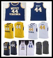 Hommes Jerry West N ° 44 Basketball Vintage Virginie Ouest Virginie Montagne Jerseys Blanc Blanc Blanc Bleu Jaune Gris WVU College Jersey S-4XL