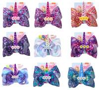 """8 """"jojo swia Bows Hula Girls OST frangipanier Licorne Imprimer Cheveux Noeuds Avec Des Clips Licorne Pour Filles Épingles À Cheveux Accessoire De Cheveux 12pcs /"""