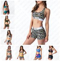 النساء الفتيات ملابس السباحة إلكتروني الكرتون طباعة ملابس رفع البرازيلي تانك الصدرية المحاصيل الأعلى السراويل 2 قطع بيكيني مجموعات بحر d51903