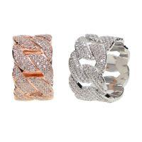 TAMAÑO DE EE. UU. 9,10 nuevo diseño con relleno de oro Real micro pave bling cz Cadena de eslabones cubanos diseño único hip hop bling anillo para hombre