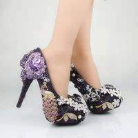 فخمة سلاسل الماس بيربل الزهور أحذية الزفاف زهرة مضخات الكعوب العالية أحذية الزفاف ل 14cm أحذية بلينغ بلينغ حفلة موسيقية للسيدة