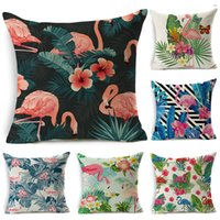 Nordic Flamingo Tropical Leaf Cushion Cover Flower Polyester...
