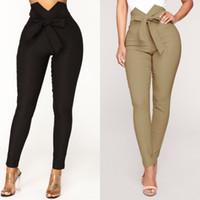 Mode femmes solides pantalons longs taille haute noeud papillon crayon pantalon skinny slim leggings occasionnels dames pantalons à taille haute