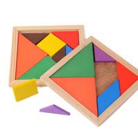Tangram de madera, 7 piezas, rompecabezas colorido de forma geométrica, cuadrado, juego de inteligencia, rompecabezas, juguetes educativos inteligentes para niños