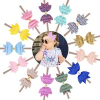 Sequins Girls Hair Bows Glitter Nylon Headbands Tiara Soft S...