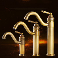 Basin Faucet Antique European Style Hot and Cold Water Tap Mixers Single Hole Retro Sink Faucets