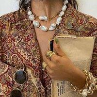 Барочное чужеродное жемчужное колье цепи мода Двухслойное ожерелье из бисера ожерелье из бисера ожерелье хип-хоп ожерелье для женщин вечеринка свадебные украшения