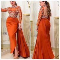 2019 aso ebi арабский арабский оранжевый сексуальный вечерние платья из бисера кристаллы без спинки выпускные платья высокая шея формальная партия второе приема платье zj264