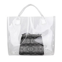 Hot Fashion 2Pcs / Set Lady Summer Beach Trasparente Tote Handbag Snakeskin Stampa Borsa a tracolla
