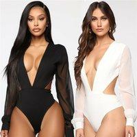Kadınlar Seksi Derin V Boyun Mesh Uzun Kollu Bodysuit Romper Tulum Leotard Bluz Siyah Bodycon Clubwear Tops