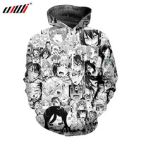 Venta al por mayor Novelty Men Hooded Anime Funny Hoodie Hombre Casual en blanco y negro