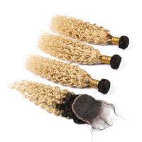 Cheveux vierges indiens humides et ondulés # 1b 613 Ombre Tisse avec Fermeture Ombre Blonde Vague Eau Cheveux Humains 3 Bundles avec Fermeture Dentelle 4x4