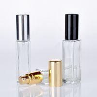 7ml 0.24oz Longo Slim Spray de vidro frascos quadrados Forma de perfume de óleo essencial névoa névoa pulverizadores Bomba garrafa de garrafa de frasco caixa de ensaio frasco