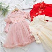DFXD 꽃 소녀 공주 드레스 2020 봄 긴 소매 어린이 의류 어린이 레이스 드레스 생일 파티 착용 아기 의류 2-7T T200229