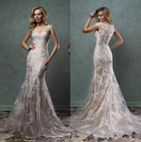 Vintage Lace Wedding Dresses 2019 V Neck Sheer Back Covered ...