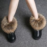 2020 مصمم جديد أحذية للنساء التمهيد الكاحل الثلوج في فصل الشتاء أحذية الأوتاد سيدة ماء الأسترالي نمط فو الفراء فوكس جلد البقر والجلود الدافئة الجوارب