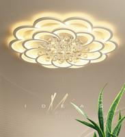 Современные светодиодные Crystal Crystal Chasteliers Dimmable дистанционно DIMMING гостиная спальня цветок круглые потолочные светильники K9 хрустальные лампы крытые светильники
