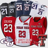 23 Jarrett Culver NCAA 텍사스 테크 농구 유니폼 2019 결승전 곤자 불독 21 Rui Hachimura Jarrett Culver Jersey