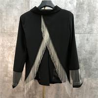 Damska czarna skręcić kołnierz z długim rękawem z długim rękawem frezowanie Tassel Patchwork Back Vent Jag Osobowość Cool Fashion Blazer garnitur płaszcz Casacos