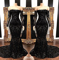 Negro del hombro Lentejuelas manga larga de la sirena de los vestidos de noche 2019 del Applique del cordón del tren del barrido del partido formal Prom Vestidos de BC1454